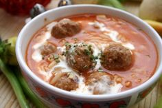Porcupine Meatball Soup | KitchMe (make my own tomato soup in the place of the canned)