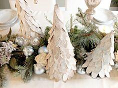 cardboard christmas tree, made with bay leaves