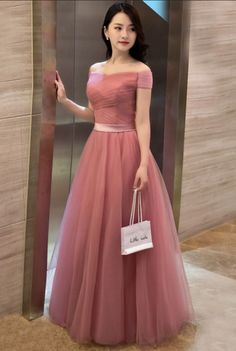 Elegant pink evening gownssexy ball gowns custom made promnew fashionA line off shoulder tulle long prom dress evening dress Evening Dresses Online, Evening Party Gowns, Women's Evening Dresses, Dress Online, Simple Prom Dress, Tulle Prom Dress, Party Dress, Elegant Dresses, Beautiful Dresses