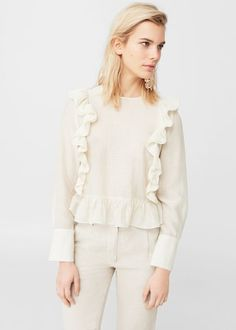 Blusa volantes lino - Camisas de Mujer | MANGO España