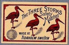 The Three Storks – Matchbox label — Made in Sweden