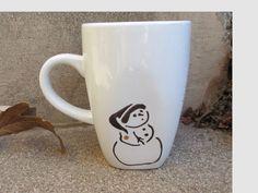Simple Sharpie Snowman Mug Craft   Dollar Store Redo