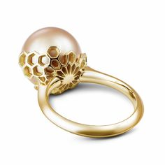 I just love this ring! It's not a traditional wedding ring but it's so beautiful... Golden Yellow South Sea Pearl Honeycomb RIng in Gold