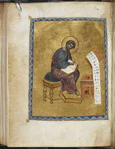 Add MS 39591, f 74v, St Luke, 12th century, overpainted in the 19th century