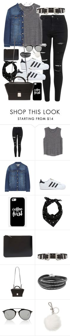 """""""Outfit for university with a western belt and superstars"""" by ferned ❤ liked on Polyvore featuring Topshop, MANGO, Current/Elliott, adidas, Casetify, Yves Saint Laurent, Comme des Garçons, B-Low the Belt, Forever 21 and Christian Dior"""
