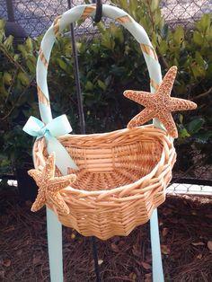 Starfish Flower Girl Beach Wedding Basket. $30.00, via Etsy.