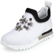 Tory Burch Rosas Embellished Runner Sneaker ($310) ❤ liked on Polyvore featuring shoes, sneakers, tory burch shoes, round cap, black and white sneakers, black white shoes and round toe sneakers