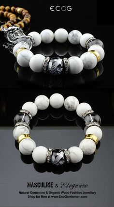 ♂ Unique Fashion Jewelry for Men – Natural howlite clear quartz crystal black onyx silver carved phoenix gemstone bracelet – Masculine elegance – Watch Center Jewelry Shop, Jewelry Gifts, Beaded Jewelry, Jewelery, Silver Jewelry, Beaded Bracelets, Diy Jewelry, Silver Ring, 925 Silver
