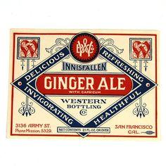 VINTAGE Soda Labels Ginger Ale Innisfallen Ireland by DigbyDarling