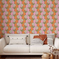 Daisy Pattern Peel and Stick Wallpaper - Smooth Wall Decal / 1 roll: 24W x 108H