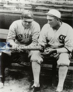 1920 Babe Ruth - 25, Joe Jackson - 32. Ruth salary $20,000, Jackson $8000. In 1919 Ruth: 139 Hits, 113 RBI, 29 HR, On Base % .456 58 SO, 101 Walks. 1919 Jackson: 181 Hits, 96 RBI, 7 HR, On Base % .422, 10 SO, 60 Walks. Red Sox considered trading Ruth to only two teams - Yankees for cash, White Sox for Jackson. Note Jackson left sleeve Sox logo.