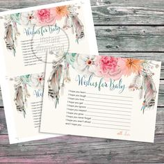 Wishes for Baby card. Baby shower party card. Original artwork. Instant download. Designed to match Baby Shower dreamcatcher invitation bohemian tribal style: https://www.etsy.com/listing/483628541/dreamcatcher-teal-fuchsia-pink-peach  Sold as it is. No color, wording, font changes are included, as this item is an instant download. Customisation (if possible) could be made by me upon request for an additional fee (convo me before ordering). Download it and print as ma...