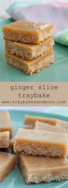 A ginger shortbread base topped with a fudge-like ginger caramel layer. This Ginger Slice Traybake is full of warming spice. Tray Bake Recipes, Baking Recipes, Cookie Recipes, Dessert Recipes, Bar Recipes, Baking Hacks, Ginger Dessert Recipe, Dessert Bars, Baking Ideas