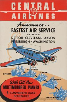Central Airlines (USA) Vintage style travel poster