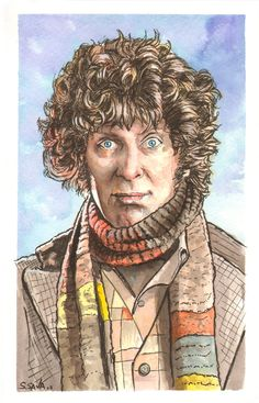 The Fourth Doctor Who Watercolor Painting. $95.00, via Etsy.