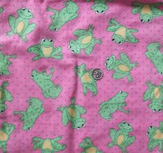 """Pink Frog Fabric, 2 yards @ 44"""" wide, New (pre-washed) + bonus fabric piece! #FREESHIPPING"""