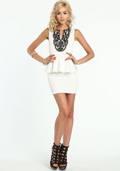 Leather Stenciled Peplum Dress