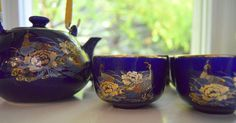 Japanese Tea Set Cobalt Blue Peacock by SongSparrowTreasures $15 Etsy