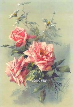 PRINT FREE SHIP Pink Victorian Spring Roses by VictorianRosePrints, $11.99