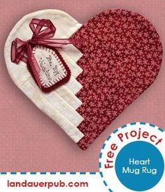 Heart Mug Rug Author Penny Haren has a present for you! To celebrate her new book, Log Cabin Quilts Using the Creative Grids® Log Cabin Trim Tool, she has created a sweet treat - a heart-shaped mug rug. Valentines Mugs, Valentine Crafts, Small Quilts, Mini Quilts, Mug Rug Patterns, Quilt Patterns, Quilting Projects, Sewing Projects, Fabric Crafts