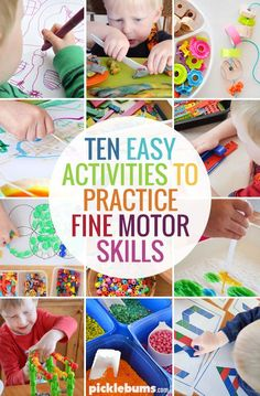 Ten Easy Activities to Practice Fine Motor Skills! Some great hands-on activities for toddlers, preschool and kindergarten! Fine Motor Activities For Kids, Motor Skills Activities, Toddler Learning Activities, Gross Motor Skills, Preschool Activities, Kindergarten Learning, Teaching, Montessori, Physical Development