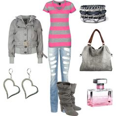 Pink stripes, created by leah-strid on Polyvore