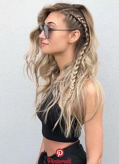 12 Easy Braids For Long Hair Pretty side braid on dark to blonde long. - 12 Easy Braids For Long Hair Pretty side braid on dark to blonde long hair - Short Hair Styles, Natural Hair Styles, Natural Curls, Style Long Hair, Hair Braiding Styles, Hair Styles With Dresses, Braided Long Hair Styles, Color For Long Hair, Half Braided Hair