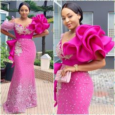 native lace styles for women & native lace styles for women African Wear Dresses, Latest African Fashion Dresses, African Print Fashion, Nigerian Wedding Dresses Traditional, African Traditional Dresses, Ankara Long Gown Styles, Lace Dress Styles, African Wedding Attire, African Attire