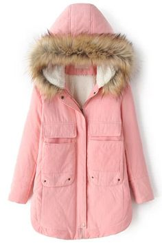 Faux Fur Hooded Pockets Pink Coat