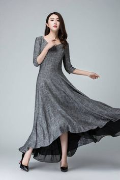 372042467f60 high low dress linen dress summer dress womens dresses