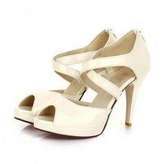 Beige Patent Leather Crisscross Peep Toe Heels