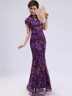 Purple Ankle-length Fishtail Phoenix Qipao / Chinese Cheongsam Dress