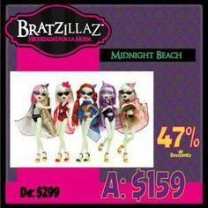 Nuestros descuentos en tienda en línea #Kichink continúan. Toda la línea Bratzillaz Midnight Beach de $299.00 a sólo $159.00 pesos cada una (por tiempo limitado) ¡Cómpralas ya! http://bit.ly/QJerbO