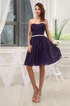 Find Whole A Line Strapless Chiffon Knee Length Purple Ruffles Tail Dress At