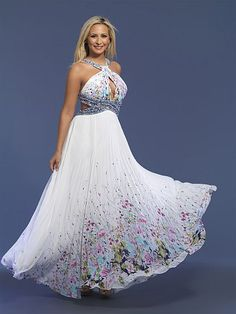 Dave and Johnny Chiffon Floral Border Print Prom Dress 7397 at frenchnovelty.com