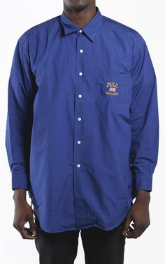 Deadstock Vintage Polo USA Banner Button Down Shirt Sz XL LARGE OVERSIZED SHIRT