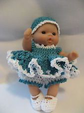 """Handmade Crocheted Clothes for 5"""" Berenguer/Itty Bitty Baby Doll 4 Piece Dress"""
