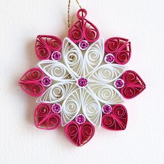 8 point pink and white quilled snowflake with pink glitter | Flickr - Photo Sharing!