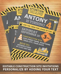 construction site themed party invitation