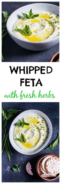 Whipped feta with fresh herbs is a quick and easy spread that is a great for appetizers, snacks, or sandwiches.