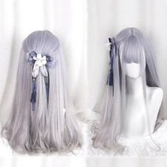 Purple/grey gradient harajuku lolita wig · Fashion Kawaii [Japan & Korea] · Online Store Powered by Storenvy Pelo Lolita, Lolita Hair, Kawaii Hairstyles, Pretty Hairstyles, Wig Hairstyles, Kawaii Wigs, Mode Kawaii, Anime Wigs, Lolita Cosplay