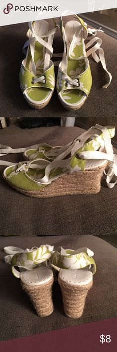 Bright green and white floral tie ankle wedges Cute Espadrille style wedges with tie across toe and long ankle tie. Worn once. 9.5 but run a little narrow. Montego Bay Club Shoes Wedges