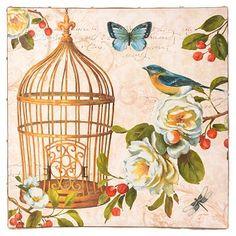 Birds In Bloom I Canvas Art Print