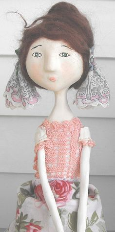 Paper mache doll; love crocheted top