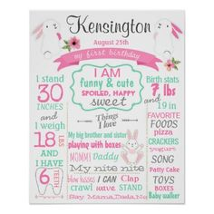 #Bunny first birthday party sign for a girl - #giftidea #gift #present #idea #one #first #bday #birthday #1stbirthday #party #1st