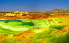 Dallol, Ethiopia  The world's hottest inhabited place  At Dallol, in the Denakil Depression, Africa dips to a depth of 116m below sea level, and the temperature soars. Dallol has the highest average air temperature in the world, calculated at 34.4°C