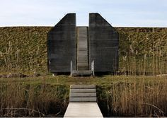 Bunker 599 of the New Dutch Waterline (NDW) in the Netherlands; sliced open by artist Erick de Lyon and Rietveld Landscape Architects. The NDW was a military line of defense made up of dikes and forts and fortified towns, and in use from 1815 until 1940 (photo by ilaury, via Flickr)