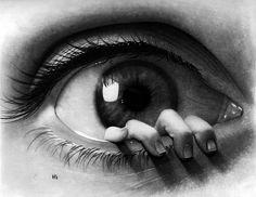 """Surreal eye drawing by @hg_art. www.UpFade.com"""