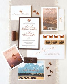 The foil-stamped, calligraphed invitation from Amber Moon Design featured photos of the mountains, antlers, and a bucking bronco—one of Wyoming's state symbols. A piece of leather and waxed twine tied the suite together.