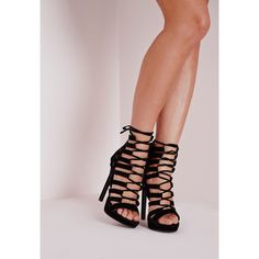 Missguided Platform Lace Up Heels (73 AUD) ❤ liked on Polyvore featuring shoes, sandals, black, black lace up sandals, black platform shoes, wrap sandals, high heel shoes and lace-up sandals